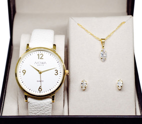 Relógio Nowa Dourado Couro Feminino Nw1406k Kit Brinde