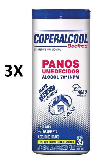 Kit C/3 Potes Panos Umedecidos Bacfree Álcool 70 Inpm.
