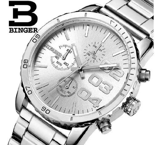 Relógio Binger Original Com Box Prata .