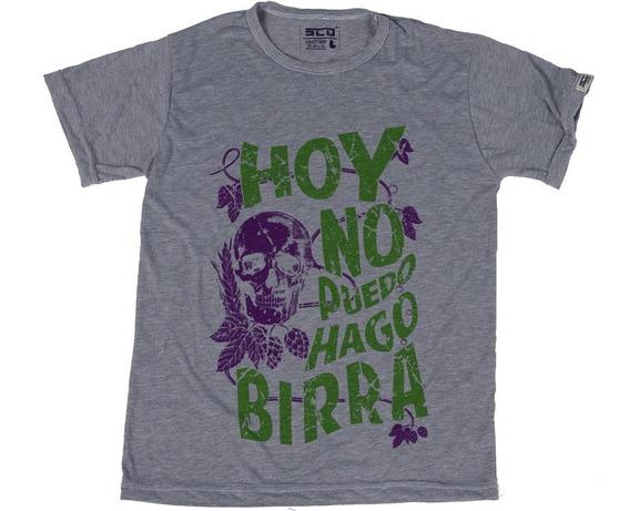 Remera Hoy No Puedo Hago Birra Violeta Y Verde