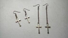 2 Pares Brincos Crucifixo Gotico Dark Frete Gratis