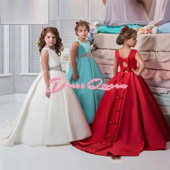 Vestido Primera Comunión, Color Azul, Rojo, Blanco, Ivory