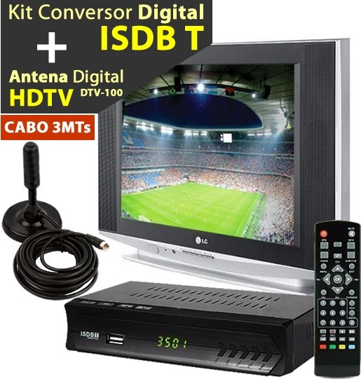 Kit Conversor Tv Digital + Antena Interna/externa Cabo 3mts