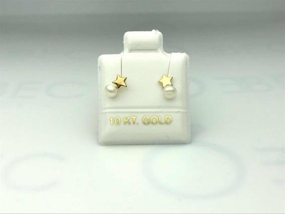Broquel Piercing Duo Con Perla Oro 10k