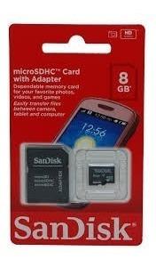 Cartão De Memória Sandisk Sd 8gb Adptador 1 Por Cliente
