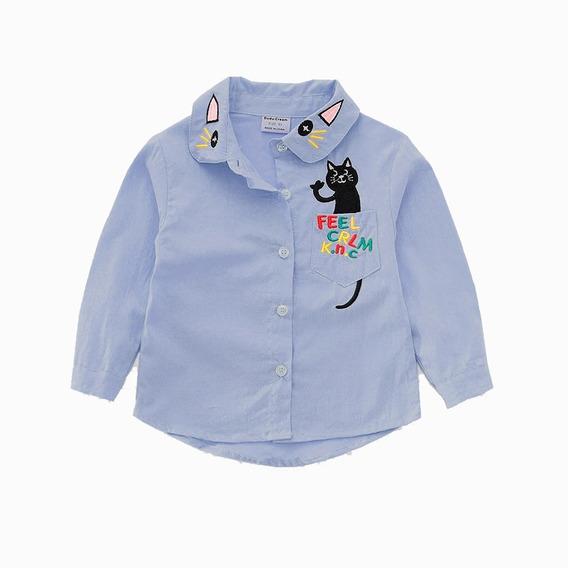 Camisa Casual De Gatito Para Niña