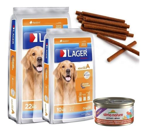 Imagen 1 de 2 de Lager Adulto 22kg+ 10kg (32kg) Con Pouch Premium Y Snacks