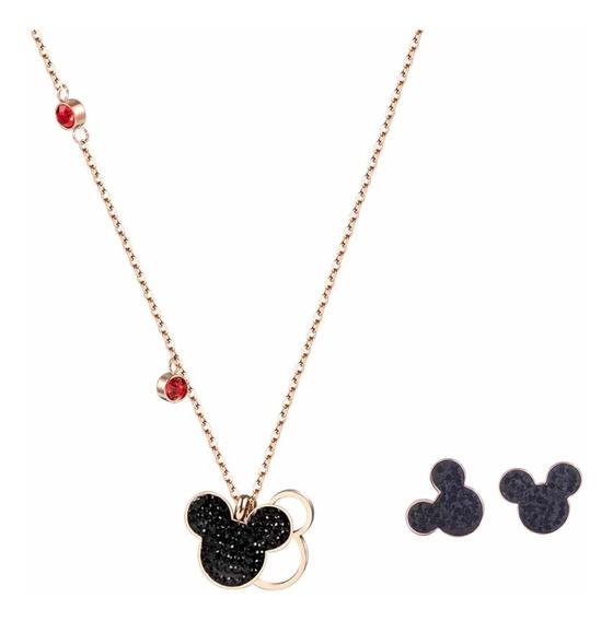 Juego Collar Y Aretes Disney Mickey Mouse Swarovski Elements