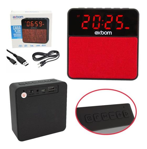 Caixa De Som Radio Bluetooth Com Relógio - Exbom