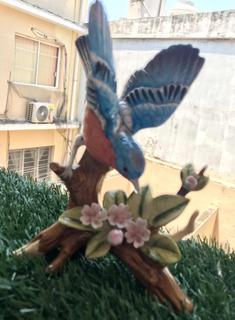 Lefton China Estatuilla Pintada A Mano Pájaro Azul