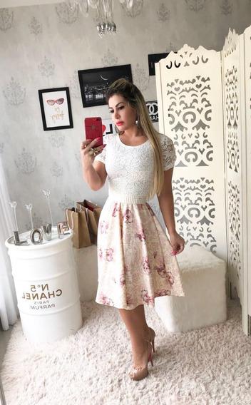 Vestido Noiva Midi Manga Longa Casamento Civil Cinto Brinde