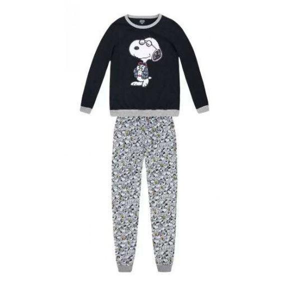 Pijama Feminino Em Algodão Snoopy Hering 7bv8 - Preto