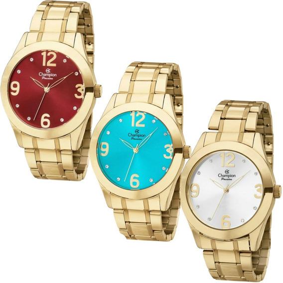 Relógio Champion Passion Feminino Dourado Original Ch24268
