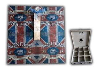 Caja Para Te Con 9 Divisiones 29x29 Cm Vintage