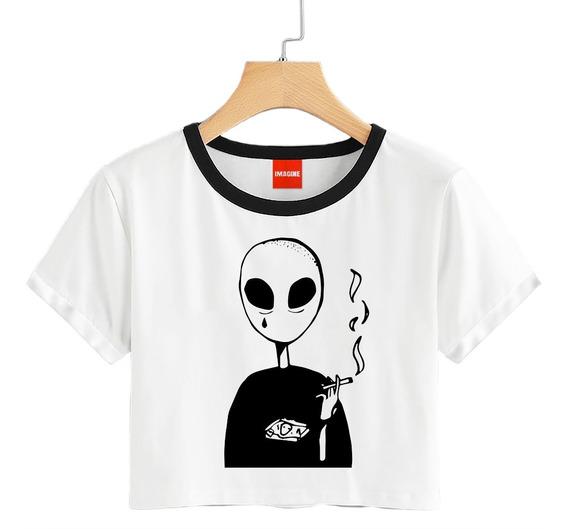 Blusa Dama Alien Fumando Extraterrestre Playera Crop #701