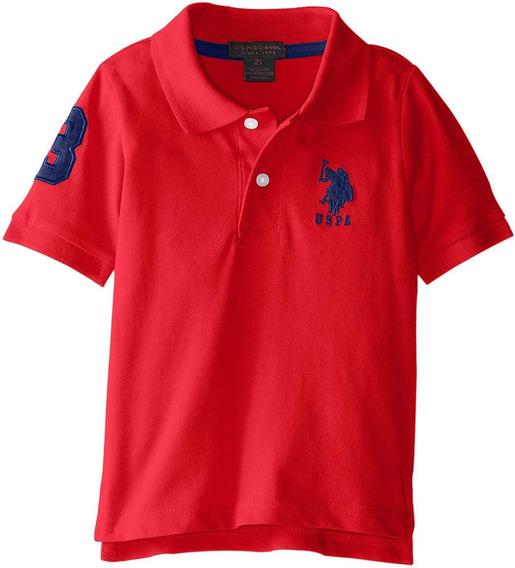 Playera Us Polo Assn Red Pique Solida Logo Grande Roja Niño