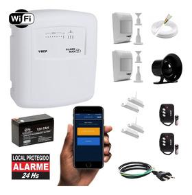 Kit Alarme Wifi Residencial Ecp Internet 4 Sensores Com Fio
