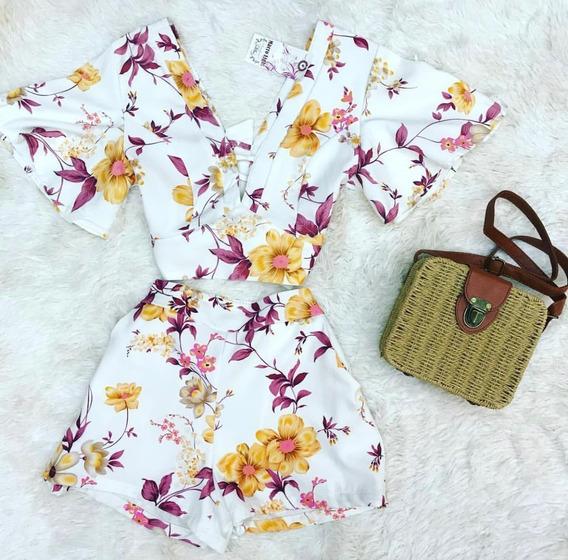 Conjunto Feminino Cropped E Short Estampa Floral Verão