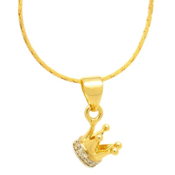 Colar Com Pingente Coroa Folheado A Ouro Semi-joia