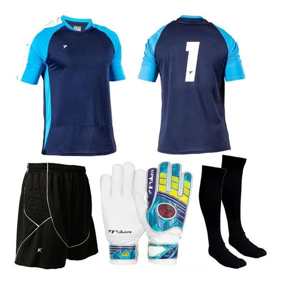 Kit Goleiro Futsal Poker Kanxa Bermuda Camisa Luva Meião