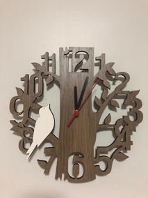 Relógio De Parede Árvore Com Pássaro Mdf Madeirado