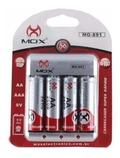 Carregador De Pilhas Aa Mox Mo-891 C/ 4 Pilhas