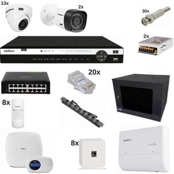 Kit Alarme Central Telefônica E Dvr 3016 Hd 4 Tb Intelbras