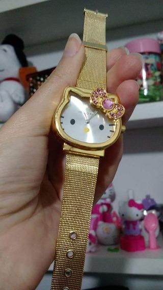 Relógio Dourado Hello Kitty Adulto