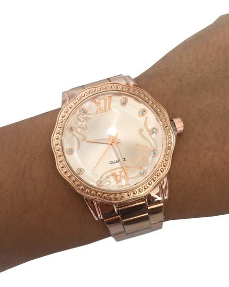 Relógio Feminino Rose Gold Prata Prateado Barato