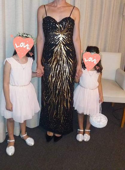 Vestido De Fiesta Paillette Importado Taza Apta 90/95