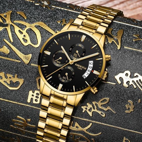Relógio Original Nibosi Cronógrafo Aço Inoxidável Quartzo