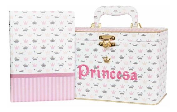 Álbum De Fotos Caixa Box Bebê Luxo Princesa Menina Coroas Rosa 200 Fotos 15x21