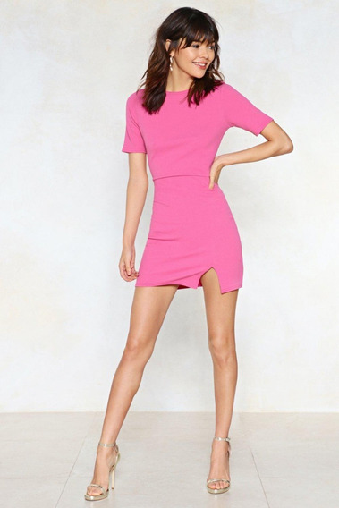 Vestido Mini Rosa Ajustado Corto Moda Mujer