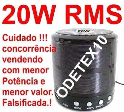 Mini Caixa Caixinha Som 20w Portatil Bluetooth Mp3 Fm Sd Usb