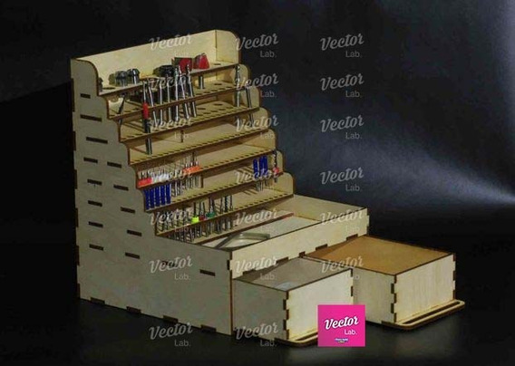 Porta Lapices Con Cajones Inferiores Vector Corte Laser