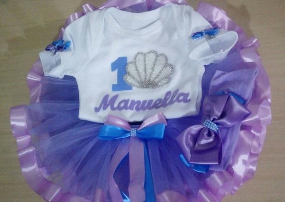 Roupa Pequena Sereia Ariel Luxo Festa Infantil Body