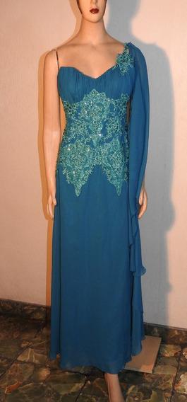 Increíble Vestido De Madrina- Fiesta - Azul - Tul Bordado