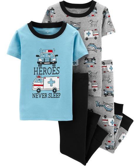 Carters Set De 4 P. Pijama Bebé Nenes Heroes