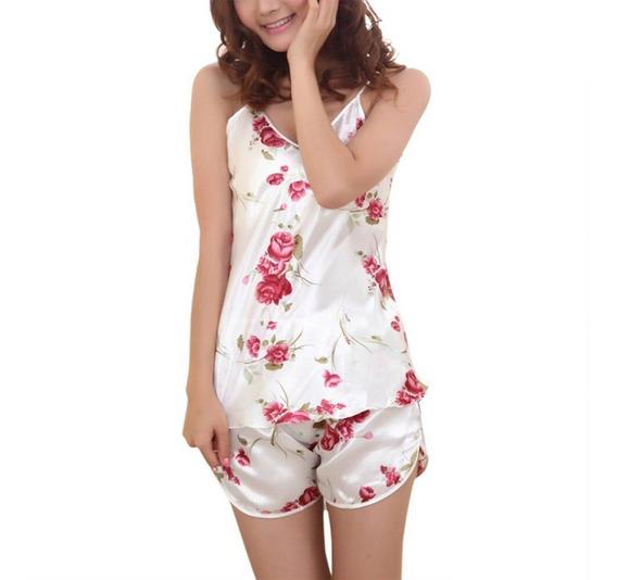 Pijama 2 Piezas Baby Doll Sexy Flor Rosas * Suave Y Cómodo *