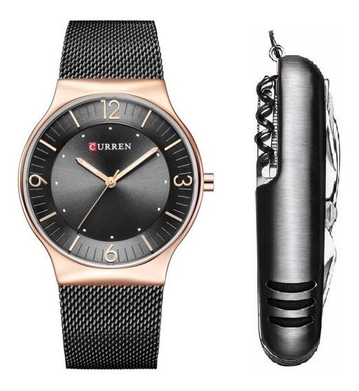 Relógio Masculino Curren Dourado Casual Social + Canivete Nf