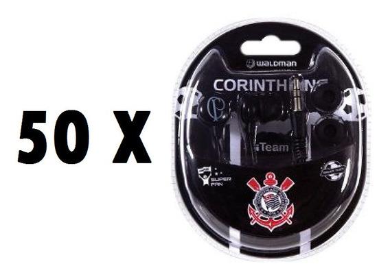 Kit 50 Fone De Ouvido Waldman Corinthians Rf Sb-10cor