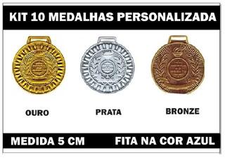 Kit 10 Medalhas 5cm Personalizadas Premiação