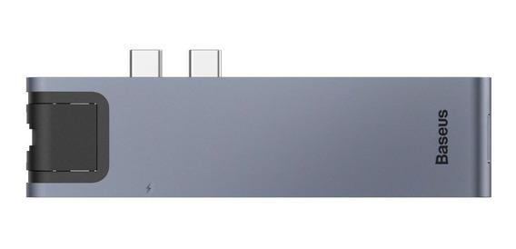 Hub Baseus 7n1 Duplo Type-c Para Lan + 2 Usb 3.0 + Sd + Microsd + Type-c + Hdmi 4k