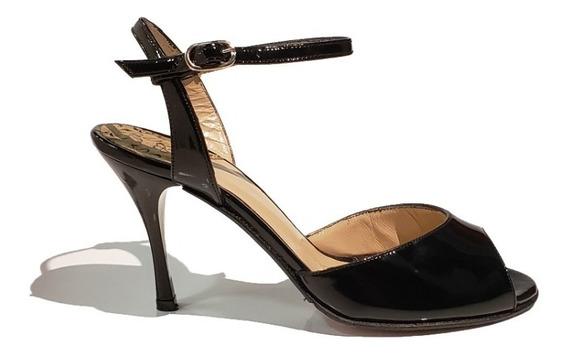 Zapatos De Baile Charol Negro Taco Acrilico Alto
