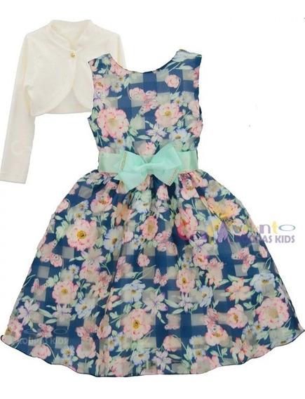 Vestido Infantil Princesa Daminha Realeza Floral Com Bolero
