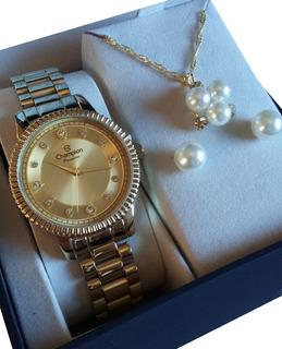 Relógio Champion Feminino Fundo Dourado Cn29829e F. Gratis