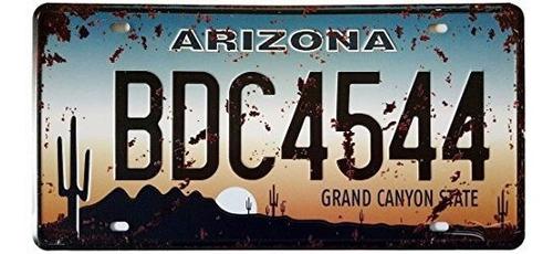 Imagen 1 de 1 de Erlood Arizona Bdc4544 Placa De Auto Retro Hoja De Lata En R