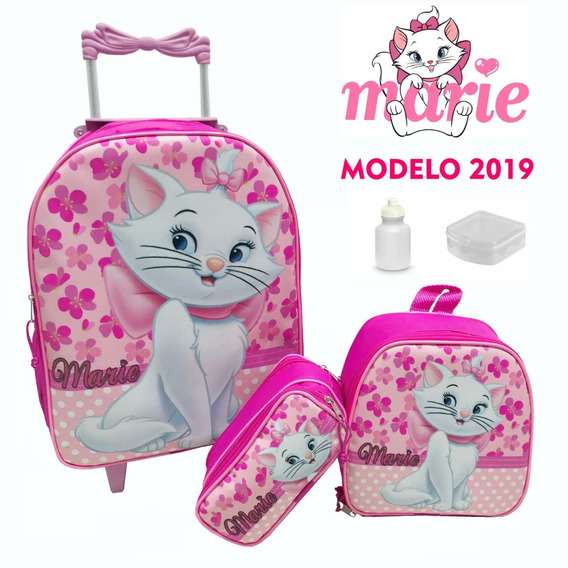 Kit Mochila Infantil De Rodinha Gata Marie - Promo