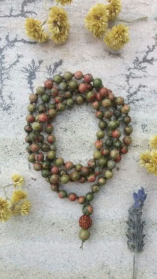 Japamala Pedras Naturais 6mm Unakita 108 Contas Prana Yoga