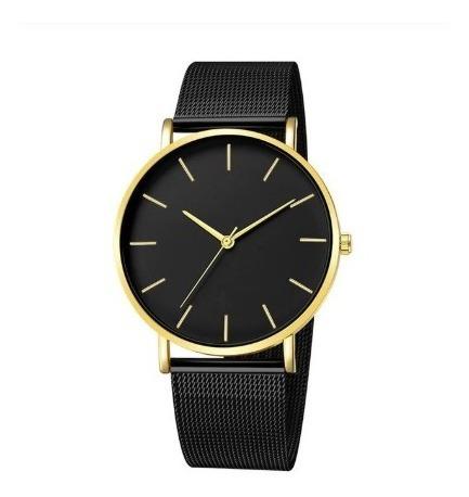 Relógio Feminino Masc Pulseira Malha Clássico Preto Dourado